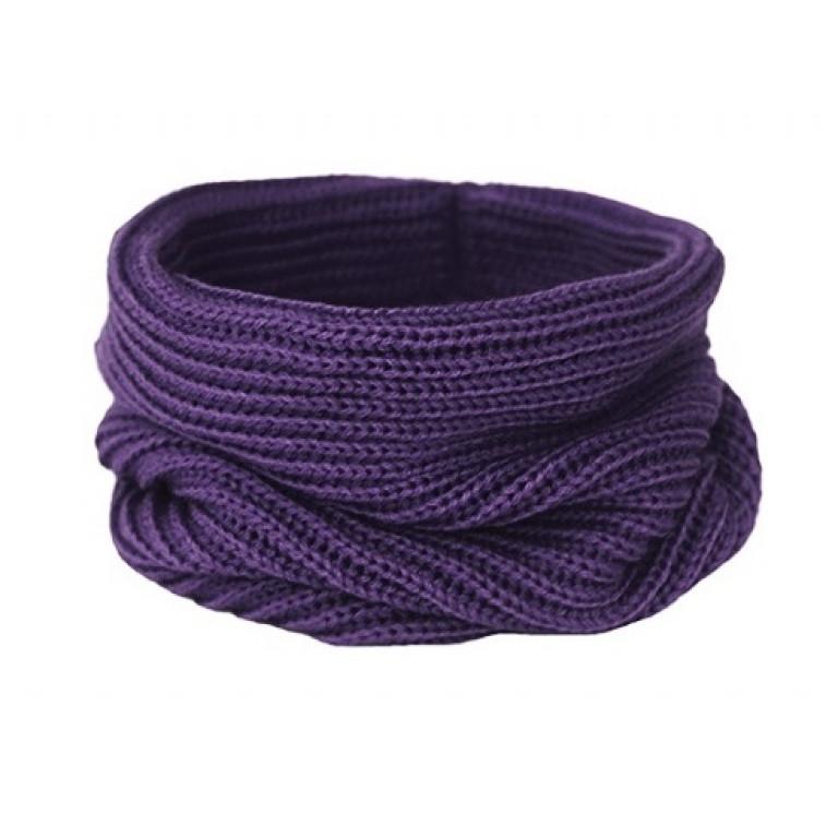 Вязаный шарф-снуд, фиолетовый