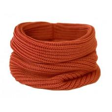 Вязаный шарф-снуд, ярко-терракотовый