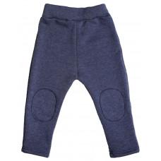Тёплые штаны с заплатками, синий меланж