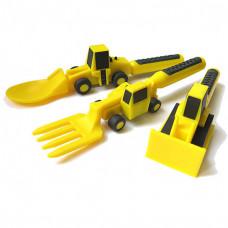 Набор из трех столовых приборов Строительная серия, желтый