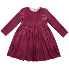 Платье бархатное, темно-розовое