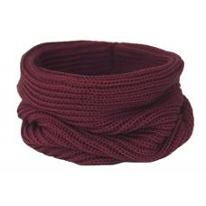 Вязаный шарф-снуд, бордовый