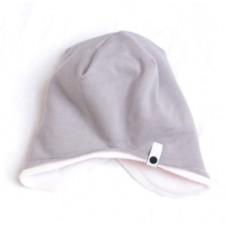 Двухсторонняя шапка, серая с розовым