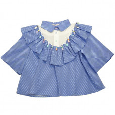 Блузка из голубого хлопка в мелкий горошек с воланой, белой кокеткой и отделкой из бусин