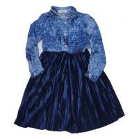 Платье из принтованной вискозы со звездами и плиссированного бархата