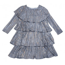 Платье - трапеция, серебристо - серое с оборками