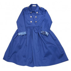 Платье, синее с  двубортной застежкой
