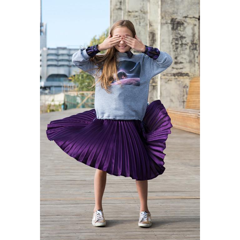 Юбка-плиссе, фиолетовая