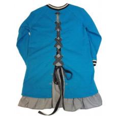Платье-туника, голубое со шнуровкой сзади