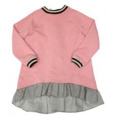 Платье-туника, розовое со шнуровкой сзади