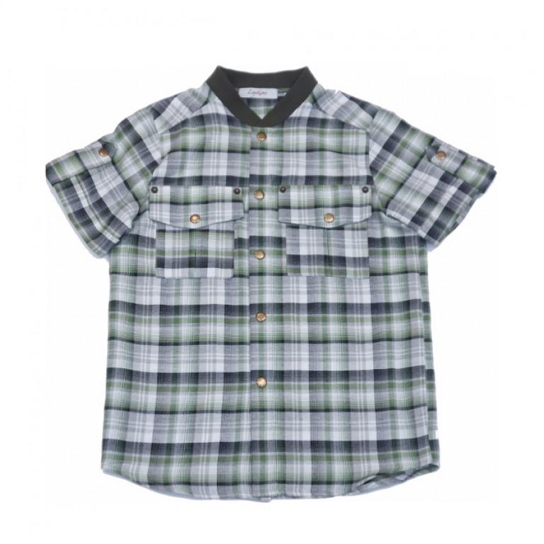 Рубашка в клетку с трикотажным воротником