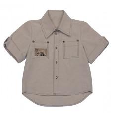 """Рубашка бежевая с нашивкой """"Медведь"""""""