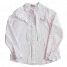 Блузка белая c воланом на лифе и бантом
