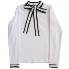 Трикотажная блузка с контрастным бантом и манжетами