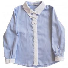 Блузка голубая с белой планкой и отделкой