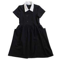Платье с двубортной застежкой и накладными карманами
