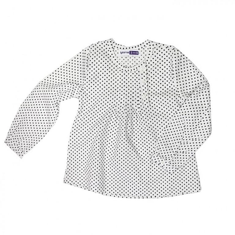 Блузка в горошек, белая
