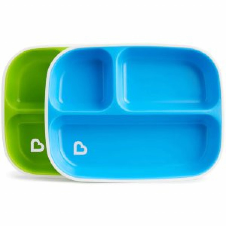 Набор тарелок секционных 2 шт голубой/зеленый