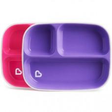 Набор тарелок секционных 2 шт розовый/фиолетовый