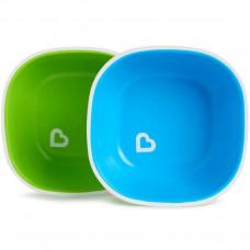 Набор детских цветных мисок 2шт с 6 мес. голубой/зеленый