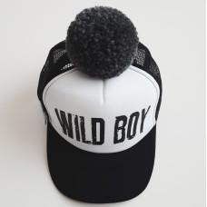 Кепка POMPOM WILD BOY, чёрно-белая с помпоном