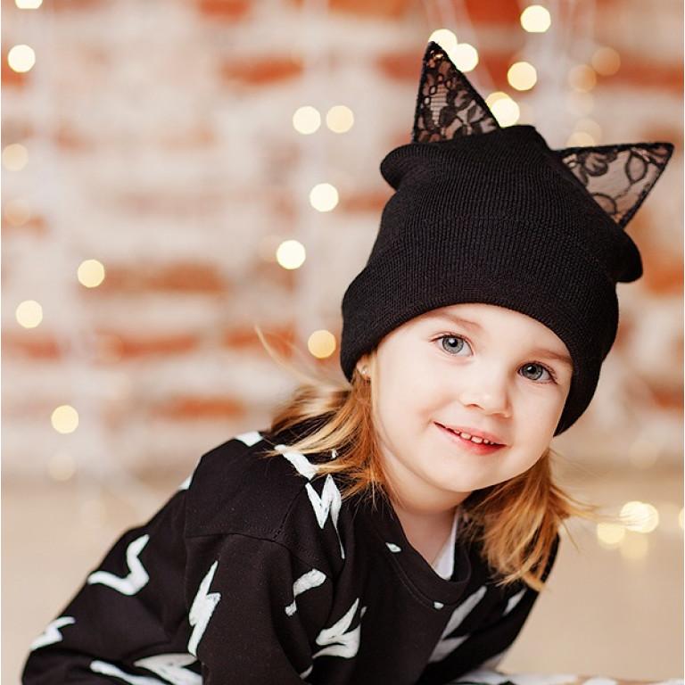 Шапка KITTY, черная