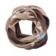 Двухсторонний шарф-снуд, бежевый в звёздочку