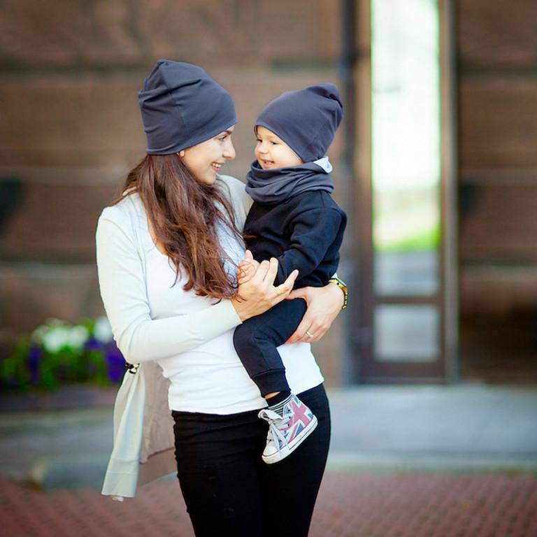 Шапки Family look двухсторонние, светло-серый+серый