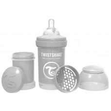 Антиколиковая бутылочка Twistshake для кормления, пастельный серый