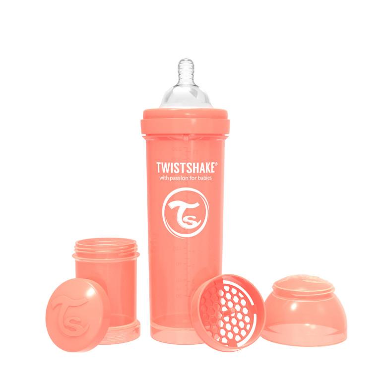 Антиколиковая бутылочка Twistshake для кормления, пастельный персиковый