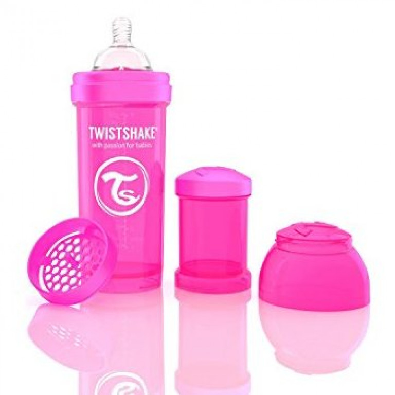 Антиколиковая бутылочка Twistshake для кормления, розовая