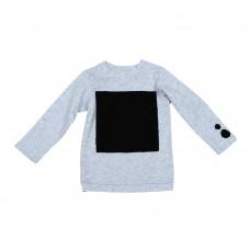Лонгслив серый с черным квадратом