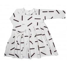 Платье-волан, белое с принтом