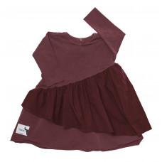 Платье с двойным воланом, бургунди