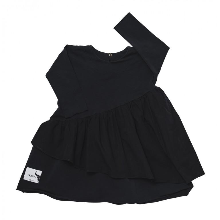 Платье с двойным воланом, чёрное