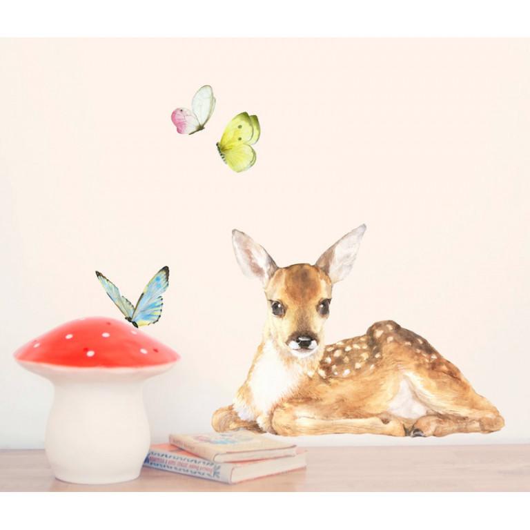 """Интерьерная наклейка """"Оленёнок и бабочки"""""""