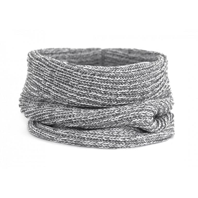 Вязаный шарф-снуд, серый меланж