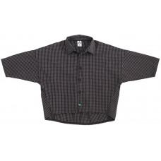 Рубашка унисекс, черная в белую клетку + зеленая пуговка