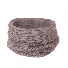 Вязаный шарф-снуд, коричневый меланж