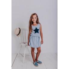 Платье-майка, голубое