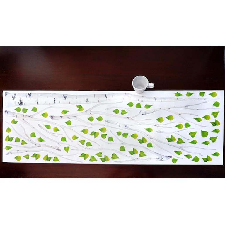 """Интерьерная наклейка """"Берёза с зелёными листьями"""""""