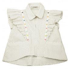 Блузка из белого хлопка в мелкий горошек с воланами и отделкой бусинами и бабочкой