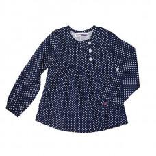 Блузка в горошек, синяя