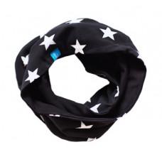 Двухсторонний шарф-снуд, чёрный в звёздочку