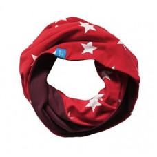 Двухсторонний шарф-снуд, красный в звёздочку