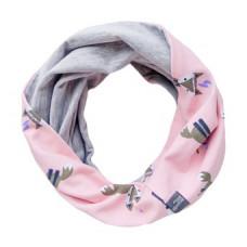 Двухсторонний шарф-снуд, розовый с лисичками