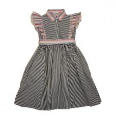 Хлопковое платье в черно-белую полоску с розовыми оборками и поясом