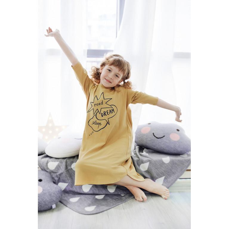 Ночная рубашка для девочки, горчичная с баблами