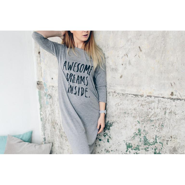 """Ночная рубашка, взрослая, """"Awesome dreams inside"""", серая"""