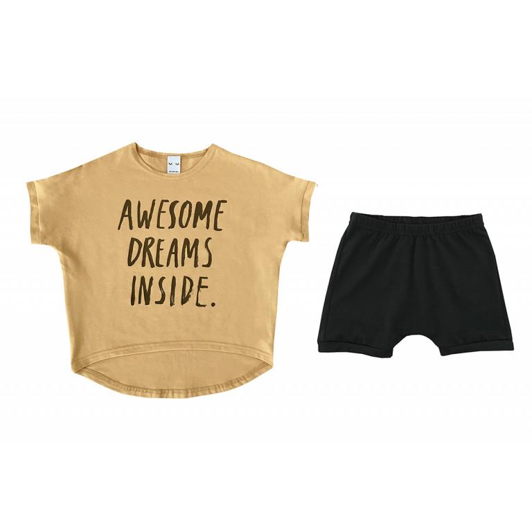 "Пижама унисекс ""Awesome dreams inside"", горчичная"